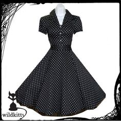 Hearts & Roses Black Polka Dot Shirt Dress Rockabilly Swing Vintage Retro 50s