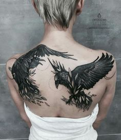 raven back tattoo