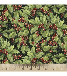 Holiday Inspirations™ Christmas Fabric-Susan Winget Winerberries Green