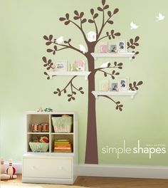 Wall Decals Baby Nursery Decor: Shelving and Tree Decal with Birds by SimpleShapes.