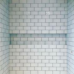 Blue metro tile shower room finally grouted and looking sharp! Grey Grout, Metro Tiles, Blue Tiles, Downstairs Bathroom, Tiling, Tile Floor, Shower, Rain Shower Heads, Tile Flooring