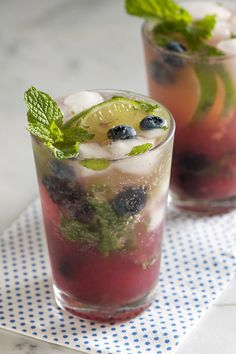 Blueberry Mojito Ingredients & Measurements: 8 Blueberries 2 tbsp Lime Juice 2 tsp Sugar 8 Mint Leaves ...