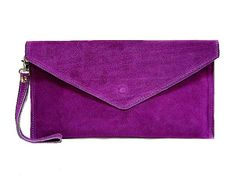A-SHU GENUINE SUEDE PURPLE OVER-SIZED ENVELOPE CLUTCH BAG / SHOULDER BAG WITH LONG SHOULDER STRAP - A-SHU.CO.UK, £19.00