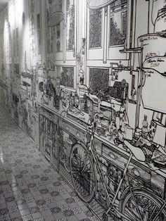 Charlotte Mann, Fontana Pelleterie 2009 Fontana Milano Shop, Milan. Black marker pen on wall. 13m X 4.2m.