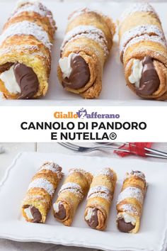 PANDORO AND NUTELLA CANNOLI® are a tasty idea to serve panettone. The toasted pandoro cannoli are stuffed with Nutella and a mascarpone cream. Gourmet Recipes, Sweet Recipes, Baking Recipes, Dessert Recipes, Nutella, Cannoli, Mini Desserts, Christmas Desserts, Christmas Recipes