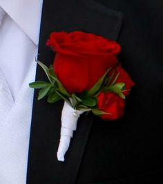 white rose boutonnieres for men | this boutonniere is made of a single red rose and two red spray rose ...