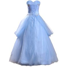 Meibida Ruffles Appliqued and Beaded Cinderella Ball Gown Blue... ($139) ❤ liked on Polyvore featuring dresses, gowns, disney, frilly dresses, blue evening gown, ruffle dress, blue ruffle dress and quinceanera ball gowns