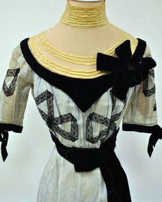 Day Dress, 1900. Cotton trimmed with velvet ribbon, lace, and net. Allentown Art Museum