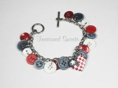 Red White and Denim Blue Button Bracelet, USA Flag Charm Bracelet