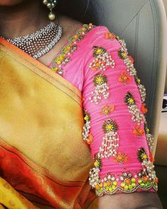 An initiative to share the treasures of Indian textiles to the globe Best Blouse Designs, Blouse Neck Designs, Sleeve Designs, Pattu Saree Blouse Designs, Maggam Work Designs, Stylish Blouse Design, Designer Blouse Patterns, Work Blouse, Maggam Works