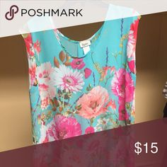 Boutique Dress Top Sheer 2X Turquoise and floral boutique dress top 2X Tops Blouses