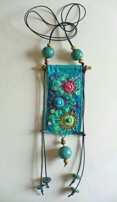 Fabric pendant quilted bead