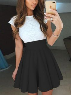 12e1d08a2278 Black Contrast Lace Panel Skater Mini Dress Casual Skirt Outfits