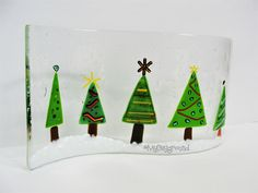 Beautiful Christmas decor made out of glass. Show off this easy and simple project for all of your family to awe over! Glass Fusing Projects, Christmas Decorations, Christmas Tree, Winter Ideas, Beautiful Christmas, Easy Diy Projects, Making Out, Simple, Holiday