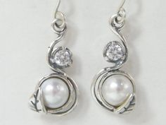 Sterling Silver Unique Double Stone Earrings With Pearl And White CZ