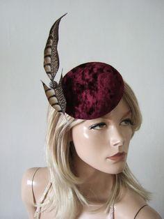Burgundy Velvet Button Cocktail Hat Headpiece by Dress2ImpressEtsy