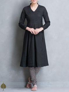 Black Angrakha Cotton Kurta by Jaypore Kurta Designs Women, Salwar Designs, Dress Designs, Dress Indian Style, Indian Dresses, Pakistani Outfits, Indian Outfits, Stylish Dresses, Casual Dresses