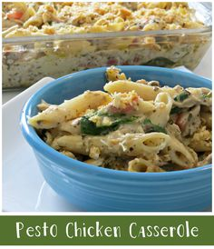 Here's a Pesto Chicken Casserole recipe that's super easy to make and filled with flavor. It's a one dish meal that can be frozen for later, too.