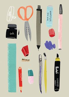 Agata Krolak, stationary, design, illustration, drawing, collage, editorial, colour