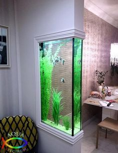 Those are the ideas of aquarium kitchen which can be your inspirations. Placing an aquarium in the kitchen is a smart idea to have a unique decoration. Aquarium Design, Wall Aquarium, Aquarium Ideas, Aquarium Decorations, Aquarium House, Corner Aquarium, Seahorse Aquarium, Seahorse Tank, Magic Decorations