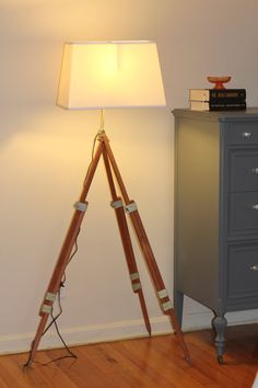 Surveyor Tripod Lamp Vintage Wood Metal Industrial Upcycled Floor Lamp - etsy thesalvagedboutique