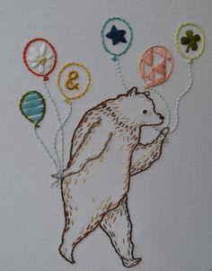 Most Excellent Party Bear Hand Embroidery por FollowtheWhiteBunny, $5.00