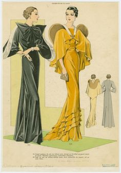 [Two women in evening attire, front and back views.] (193-)