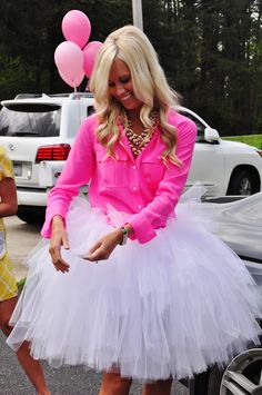Super cute idea for a super girly bride at her bridal shower! Have the bride in bright pink top & white glittery tutu. LOVE THIS!!