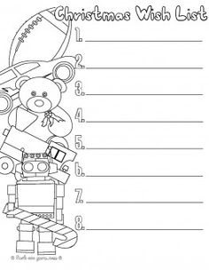 Printable Christmas Wish List Toys To Santa Claus