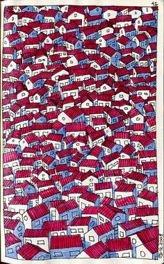 'Congested crowd' - Miguel Herranz  | drawing.