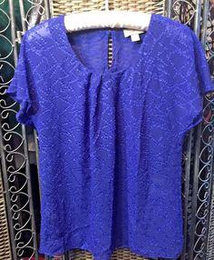 ANN TAYLOR LOFT Semi Sheer BRITE ROYAL BLUE shortsleeve blouse Boho Luxe XS EUC  #AnnTaylorLOFT #Blouse
