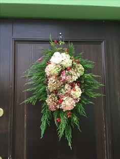 Dekoracja drzwi wejściowych # hortensja