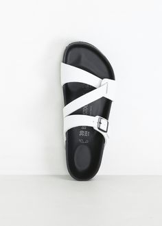 Y's by Yohji Yamamoto Birkenstock Belt Sandal (White) Leather Sandals Flat, Leather Slippers, Mens Slippers, Sandals Outfit, Strappy Sandals, Shoes Sandals, Leather Men, Me Too Shoes, Fashion Shoes
