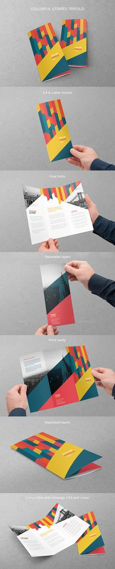 Colorful Stripes Trifold Brochure Template PSD #design Download: http://graphicriver.net/item/colorful-stripes-trifold/14042383?ref=ksioks