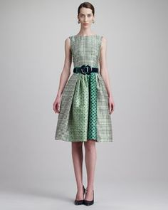 Oscar de la Renta Check-Print Jewel-Neck Dress & Wide Patent Leather Two-Tone Belt