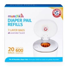 Munchkin Arm & Hammer Diaper Pail Snap, Seal and Toss Refill Bags, 20 Bags, Holds 600 Diapers - Best Sellers Couches, Arm And Hammer Diaper Pail, Diaper Genie, Disposable Diapers, Baby List, Lavender Scent, Baby Registry, Blue Bags, The Help