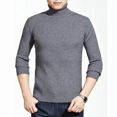 Men's Fall Winter Roll Neck Knitwear Cashmere Blend Turtleneck Slim Fit Warm Sweater