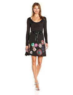 Desigual Women's Dress Plinas, Gris Alquitran, Small