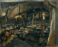 Reception of the Wounded at the First Casualty Clearing Station, Le Château, during the British Advance in October 1918 by John Hodgson Lobley.  Painted: 1918.
