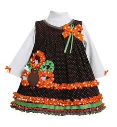 Bonnie Jean Brown Ribbon TURKEY Thanksgiving Jumper Dress (sz.12m-6x) #thanksgiving