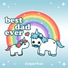 Super cute unicorn dad with baby under a rainbow.