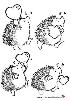 T T hedgehog with hearts