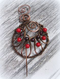 Round Shawl Pin  Wire Wrapped Penannular scarf pin  by Lirimaer, $27.00