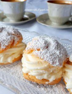 Na To Mam Ochotę: Kremowe Ptysie Cannoli Cream, Polish Recipes, Eclairs, Doughnut, Muffins, Deserts, Dessert Recipes, Sweets, Baking