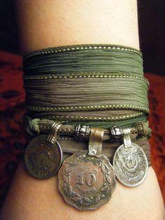 Enchanted Forest Boho Silk Wrap Bracelet with Tribal Kuchi Coins, Gypsy, Bellydance, Yoga Bracelet, Earthy Green Hues w/Silver Accents