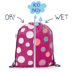 Part of a cute set this Polka Dot Girls swim bag or kit bag actually changes colour when wet! It's as though it was magic!