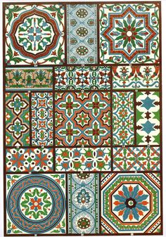 Italian Renaissance Polychrome Pottery Wainscot and floor plates from houses/buildings in Genoa and Bologna. The ornaments most resemble Byzantine and Oriental models and the studio of Della Robbia [see one; two] attained special celebrity as the leading plate-mosaic manufacturer.