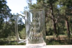 Hand Sand Etched Keep Calm 27 oz mug by Dreams2Designs on Etsy, $10.00 Request a custom handmade personal design or as a design for a gift.