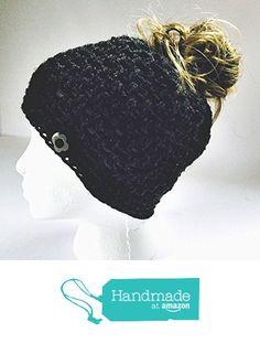 6e92309d10d Amazon.com  Handmade Messy Bun Hat Heather Dark Grey Beanie Wood Button Pony  Tail Holder Crochet Cloche  Handmade