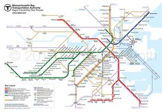 """My redesigned Boston MBTA map. This version includes the """"key bus routes"""" shown on the official map. Updated to show the newly-opened Assembly station on the Orange Line. Massachusetts, Boston, Highway Map, Train Map, Chicago Loop, Metro Map, Bus Route, Subway Map, Project Site"""